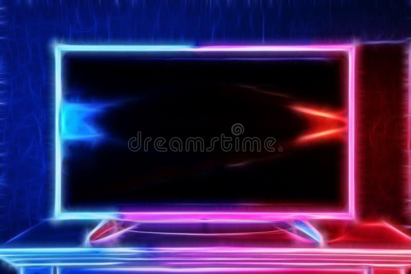 Nowożytny TV jarzy się z neonowym światłem w jaskrawych kolorach ilustracji