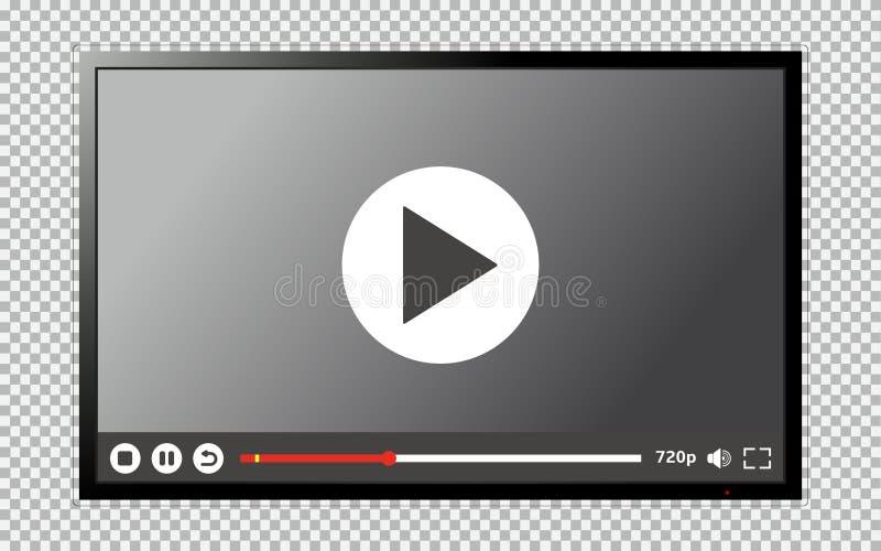 Nowożytny TV pusty ekran z odtwarzacz wideo interfejsem royalty ilustracja