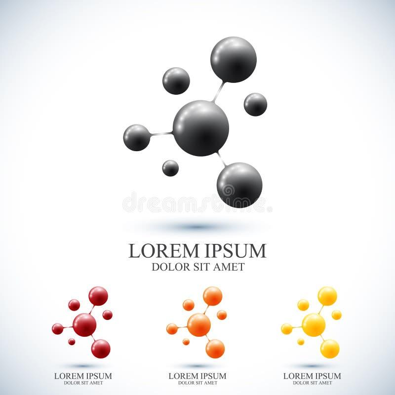 Nowożytny ustalony logotyp ikony dna i molekuła Wektorowy szablon dla medycyny, nauka, technologia, chemia, biotechnologia ilustracji