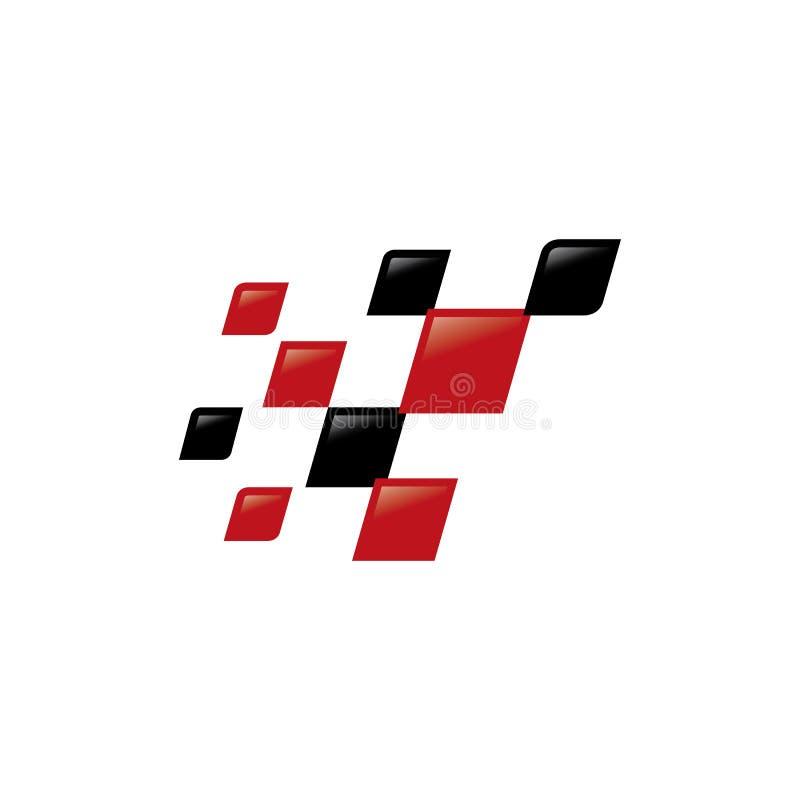 nowożytny w kratkę chorągwiany logo szablon Biegowy chorągwiany wektorowy ikona symbol ilustracji