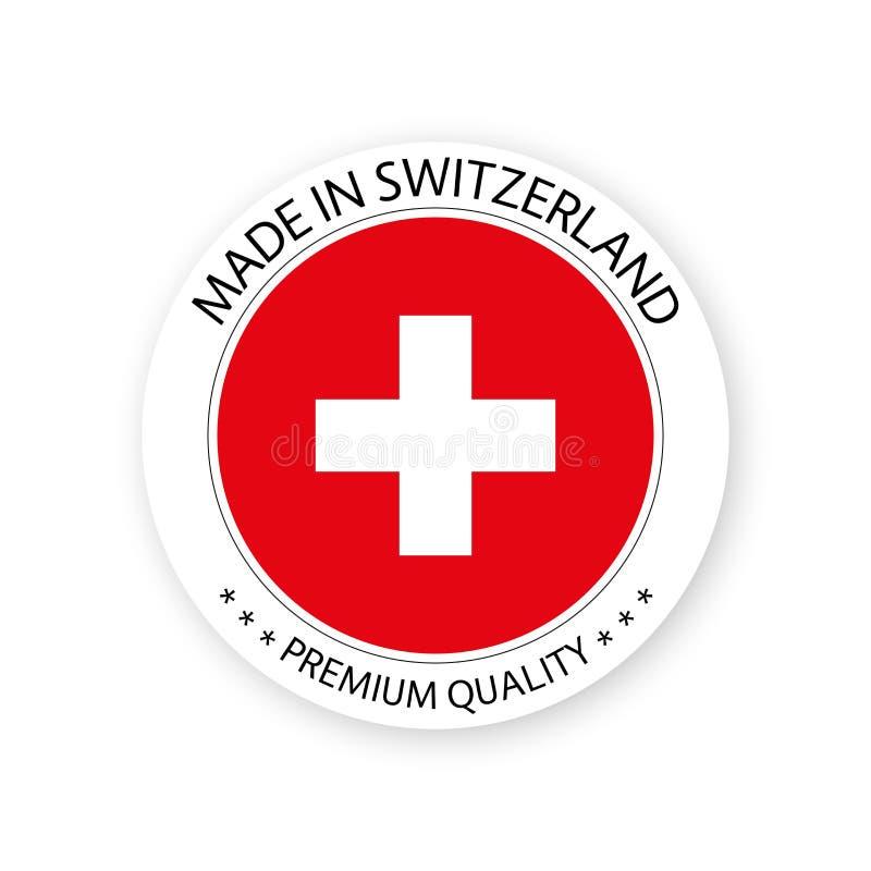 Nowożytny wektor Robić w Szwajcaria etykietce odizolowywającej na białym tle royalty ilustracja