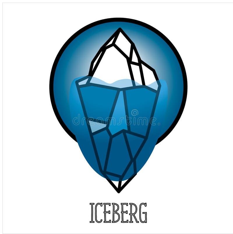 Nowożytny wektorowy asberg, czerń kontur na błękitnym tle Pojęcie północ royalty ilustracja