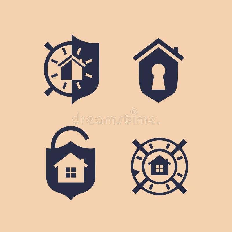 Nowożytny wektorowy profesjonalisty znaka loga bezpieczny dom ilustracja wektor