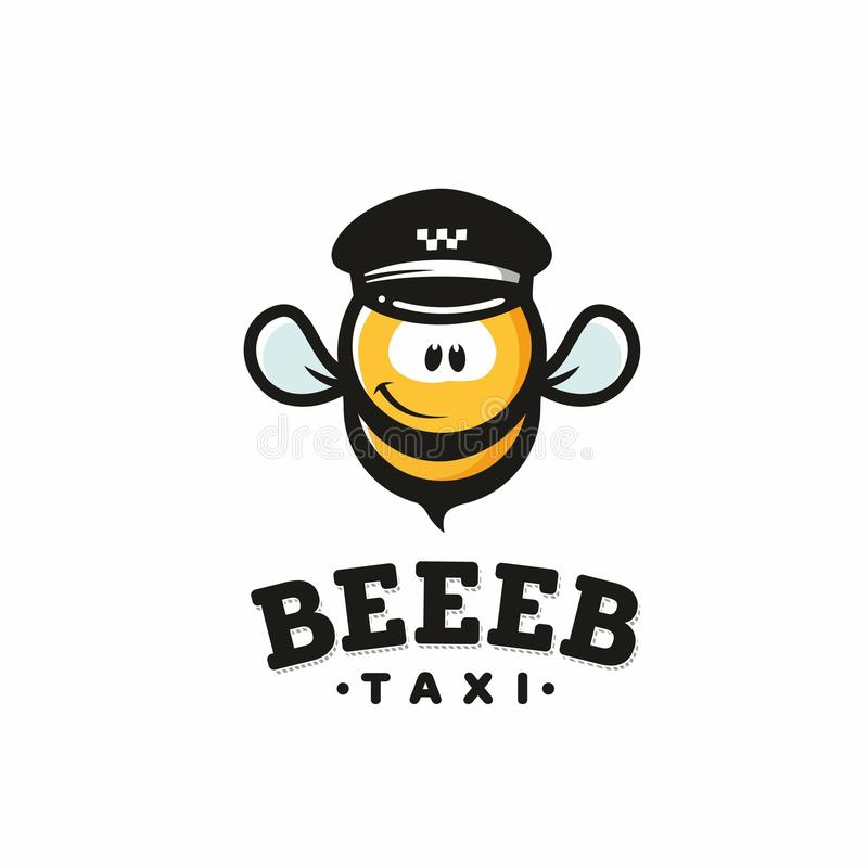 Nowożytny wektorowy profesjonalisty znaka loga pszczoły taxi ilustracja wektor