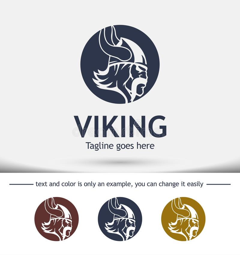 Nowożytny wektorowy profesjonalisty znaka logo Viking, loga projekt royalty ilustracja