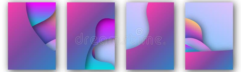 Nowożytny wektorowy szablon dla broszurki, ulotka, ulotka, pokrywa, katalog w A4 rozmiarze Abstrakcjonistyczny fluid 3d kształtuj ilustracja wektor