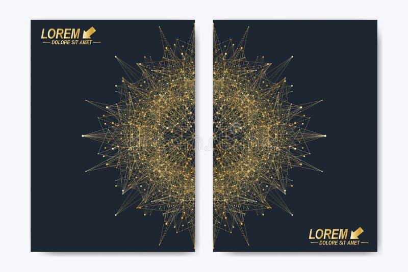 Nowożytny wektorowy szablon dla broszurki, ulotki, ulotki, pokrywy, magazynu lub sprawozdania rocznego, Złoty układ w A4 rozmiarz ilustracja wektor