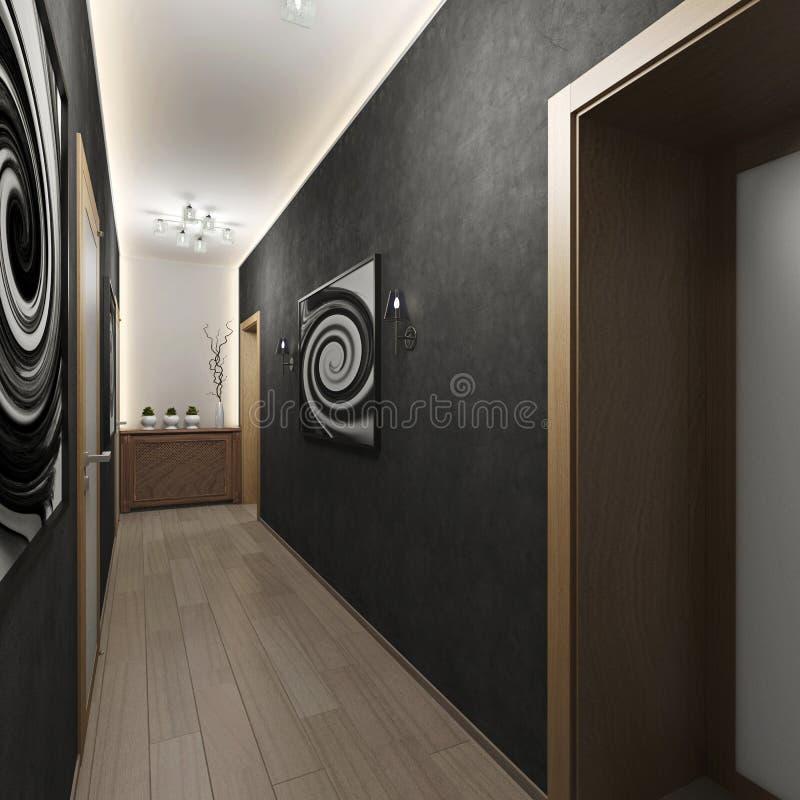 Nowożytny wewnętrzny korytarz z drzwiami zdjęcia royalty free