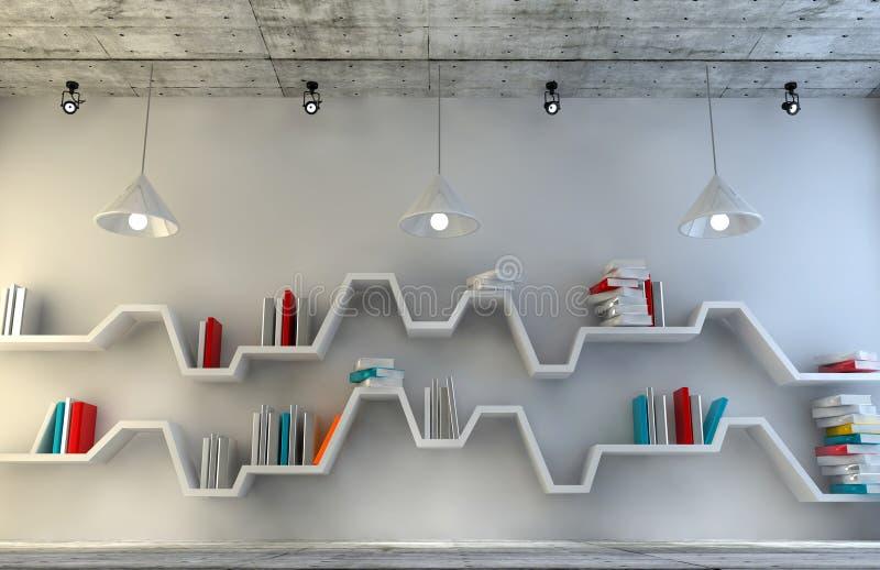 Nowożytny wewnętrzny pokój z pięknym meble Minimalistyczny półka na książki nad dramatycznym betonu i drewna tłem, ilustracji
