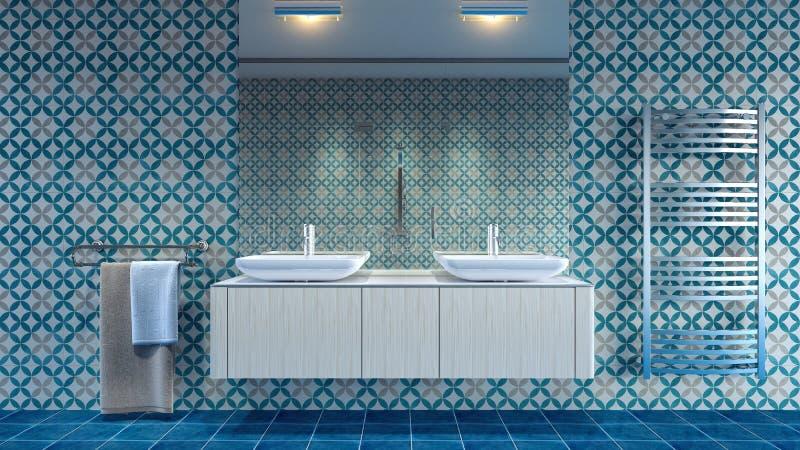 Nowożytny wewnętrzny projekt łazienka 3D Odpłaca się ilustracja wektor