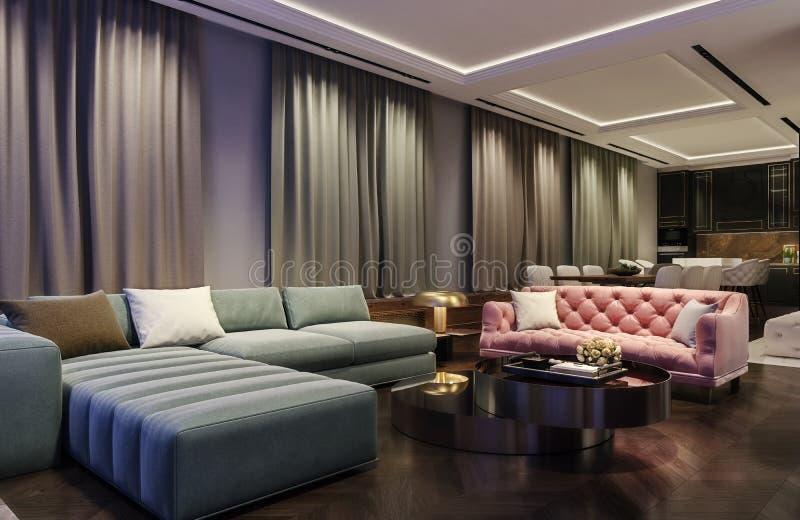 Nowożytny wewnętrzny projekt żywy pokój, nocy scena z kontrastowaniem barwi, millennial różowa leżanka z zieloną błękitną kanapą ilustracji