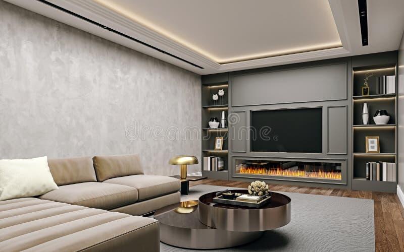 Nowożytny wewnętrzny projekt żywy pokój w piwnicie, wędkujący zakończenie w górę widoku tv ściana z książkowymi półkami, sztukate ilustracji