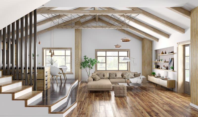 Nowożytny wewnętrzny projekt dom, żywy pokój z kanapą, schody 3d rendering ilustracji