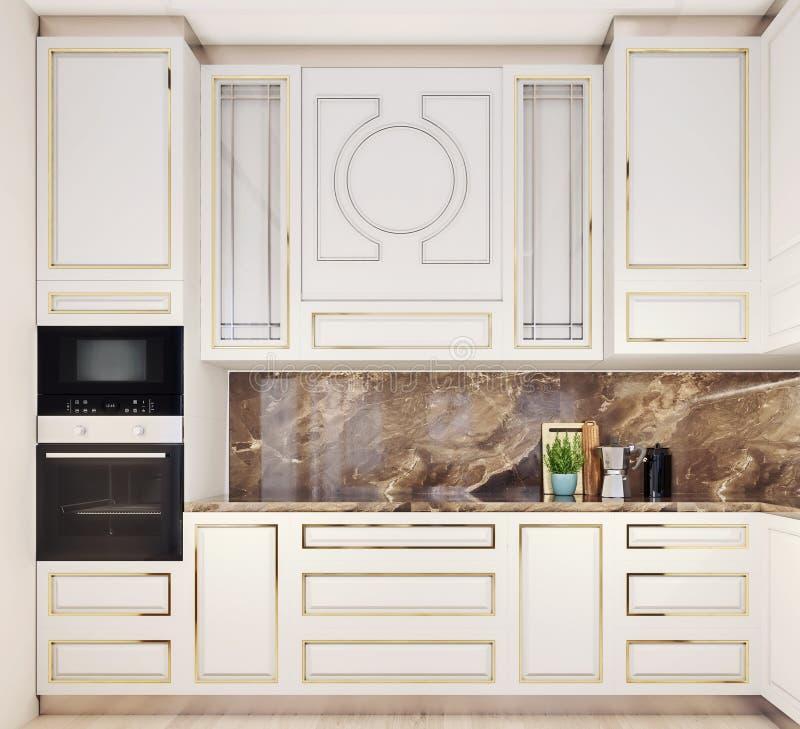Nowożytny wewnętrzny projekt kuchnia, frontowy widok, elegancki i elegancki w górę, obrazy royalty free