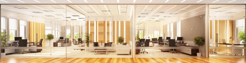Nowożytny wewnętrzny projekt wielka powierzchnia biurowa obrazy royalty free
