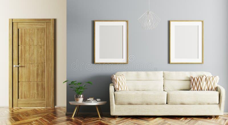 Nowożytny wnętrze żywy pokój z kanapy 3d renderingiem ilustracja wektor