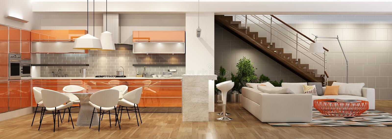 Nowożytny wnętrze żywy pokój z kuchnią w domu lub mieszkaniu zdjęcie royalty free