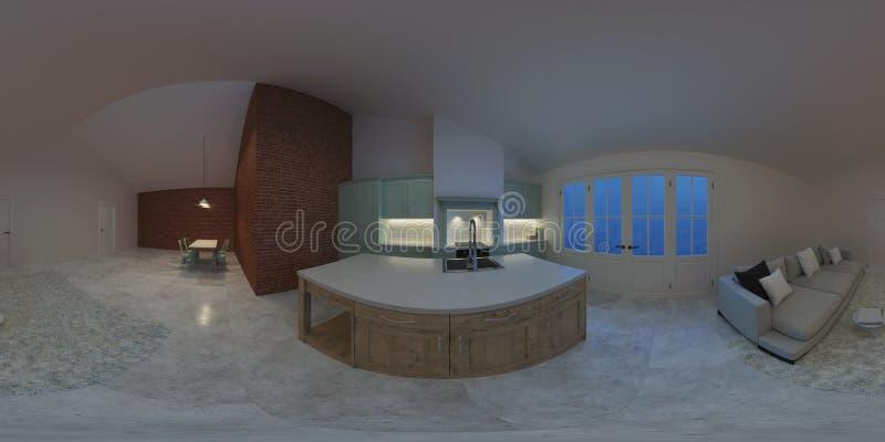 Nowożytny wnętrze dom na wsi Wieczór oświetlenie Panorama 360 obraz stock