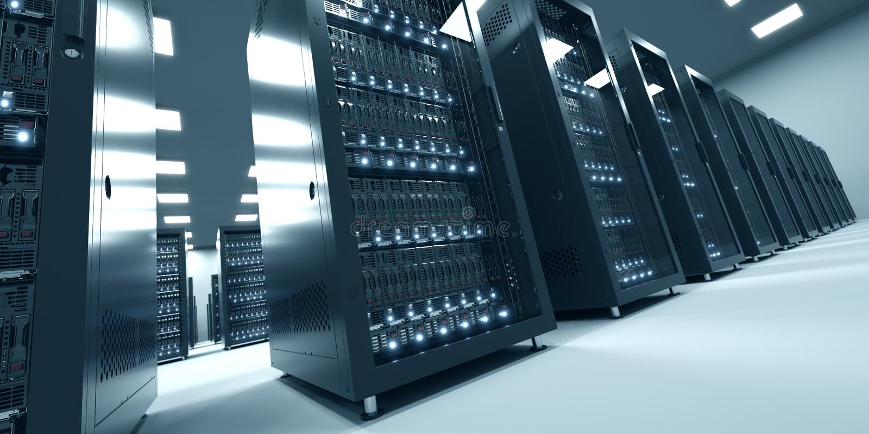 Nowożytny wnętrze serweru pokój w datacenter Obłoczny oblicza da fotografia stock