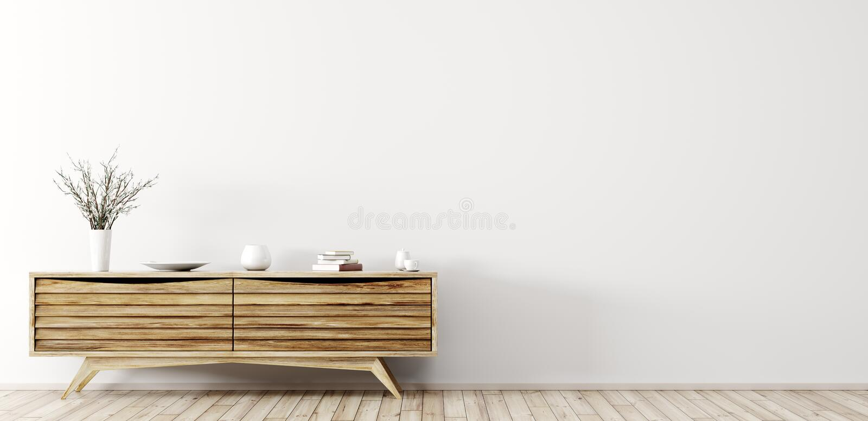Nowożytny wnętrze z drewnianym dresser 3d renderingiem royalty ilustracja