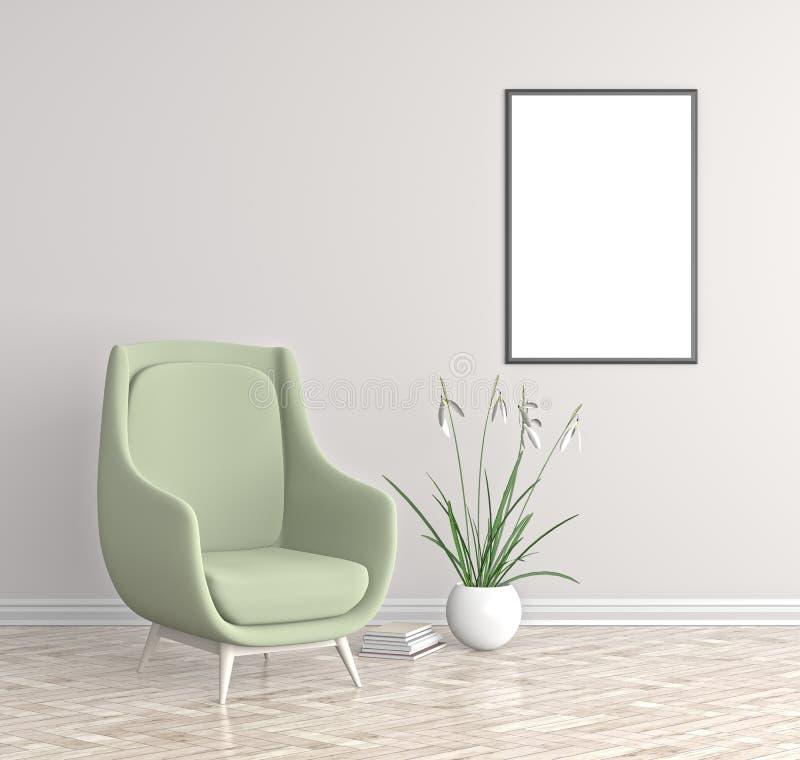 Nowożytny wnętrze z pustym plakata egzaminem próbnym up Modnisia żywy pokój ilustracji