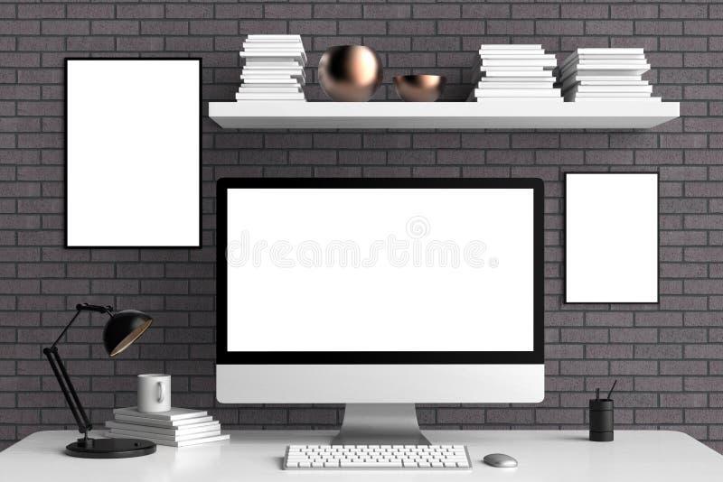 Nowożytny workspace, ekranu komputerowego i ramy egzamin próbny up, 3d ilustracji