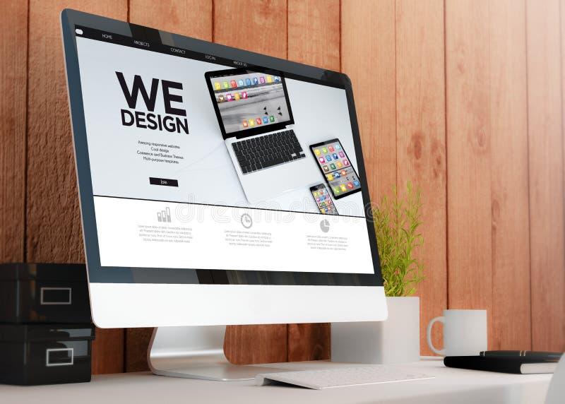 nowożytny workspace z komputerem projektujemy obraz stock