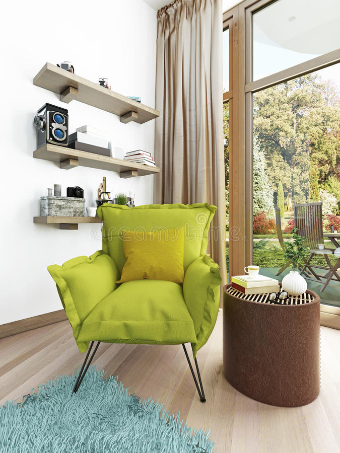 Nowożytny Współczesny jasnozielony krzesło w żywym pokoju ilustracja wektor
