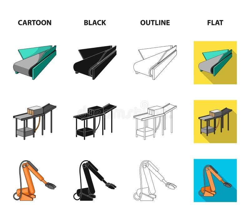 Nowożytny wyposażenie i inna sieci ikona w kreskówce, czerń, kontur, mieszkanie styl Maszynowi narzędzia i wyposażenie fabryczne  royalty ilustracja