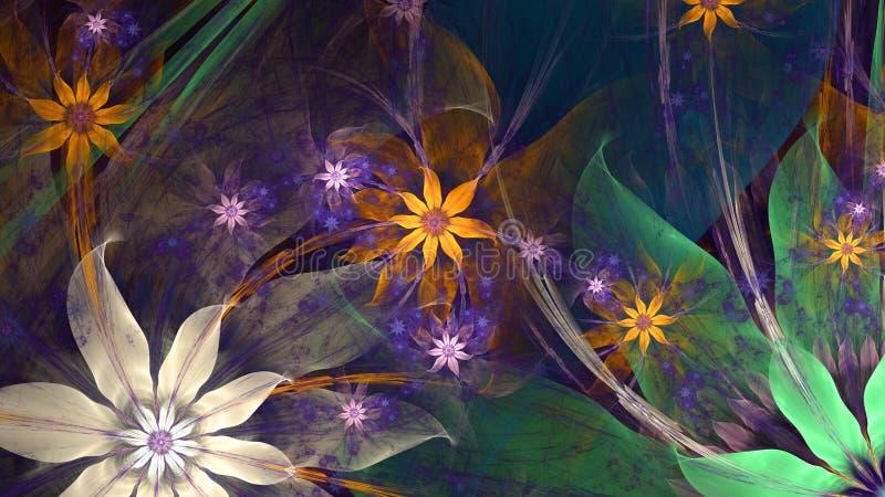 Nowożytny wysoka rozdzielczość kwiatu tło w rozjarzonych menchiach, błękit, kolor żółty, zieleń ilustracji