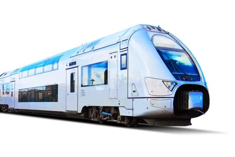 Nowożytny wysoki prędkość pociąg odizolowywający na bielu zdjęcia stock