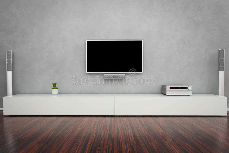 Nowożytny Żywy pokój z TV fotografia stock