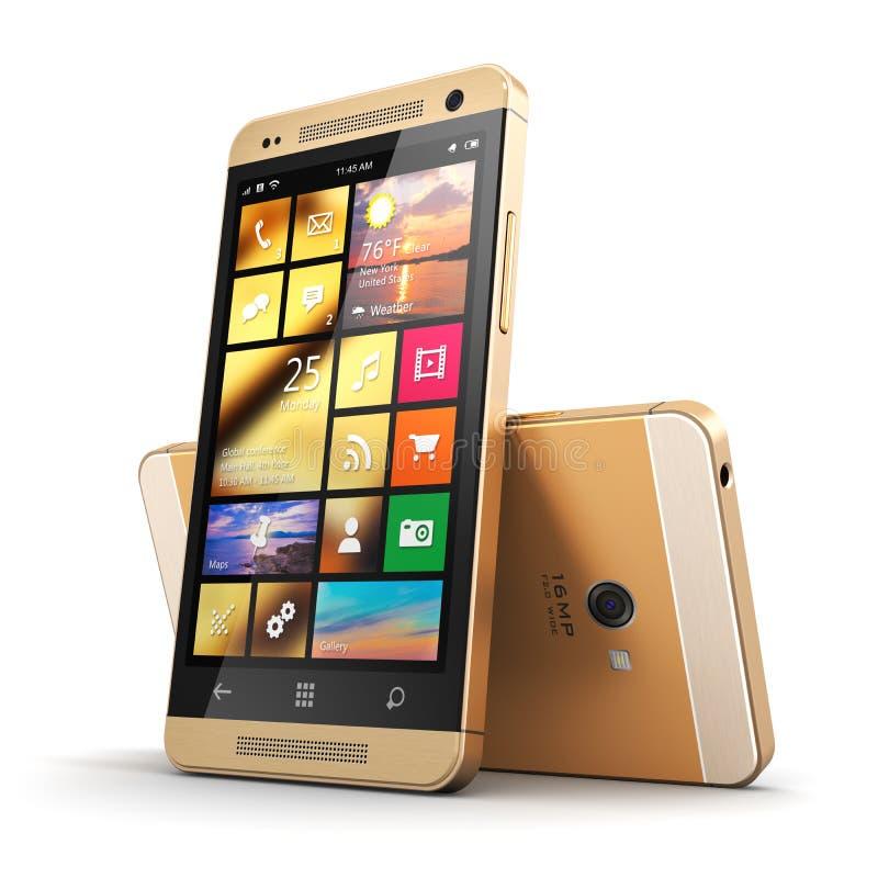 Nowożytny złoty ekranu sensorowego smartphone ilustracja wektor