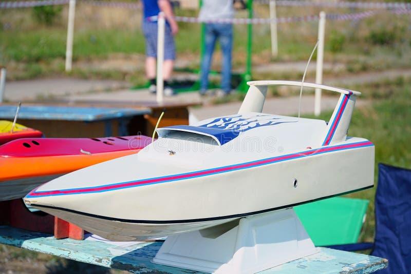 Nowożytny zabawka model kontrolująca łódź zdjęcie stock
