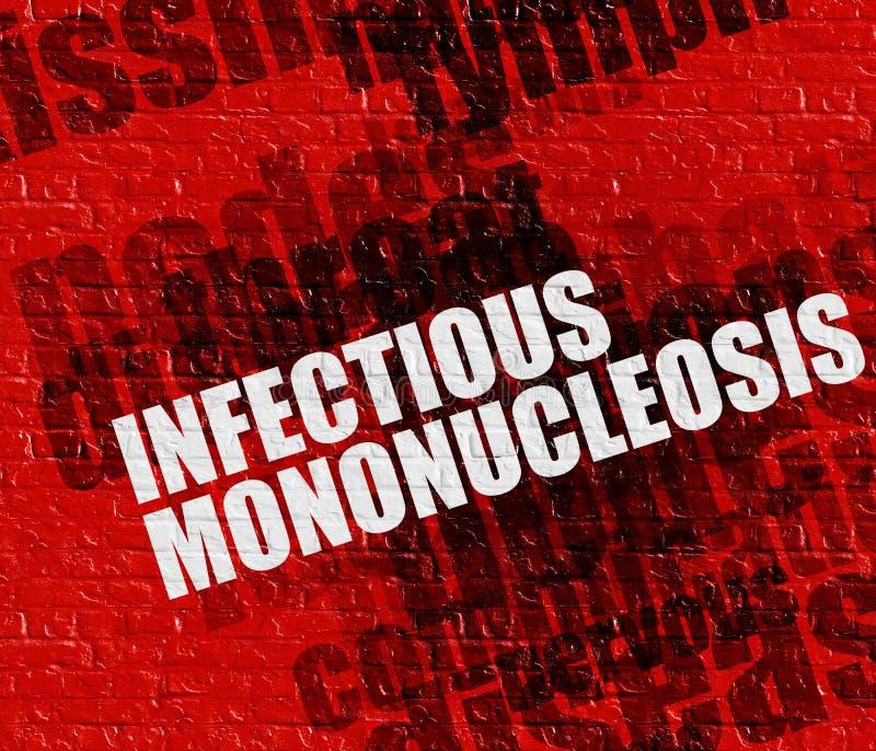 Nowożytny zdrowia pojęcie: Zakaźny Mononucleosis na Czerwonej cegle royalty ilustracja