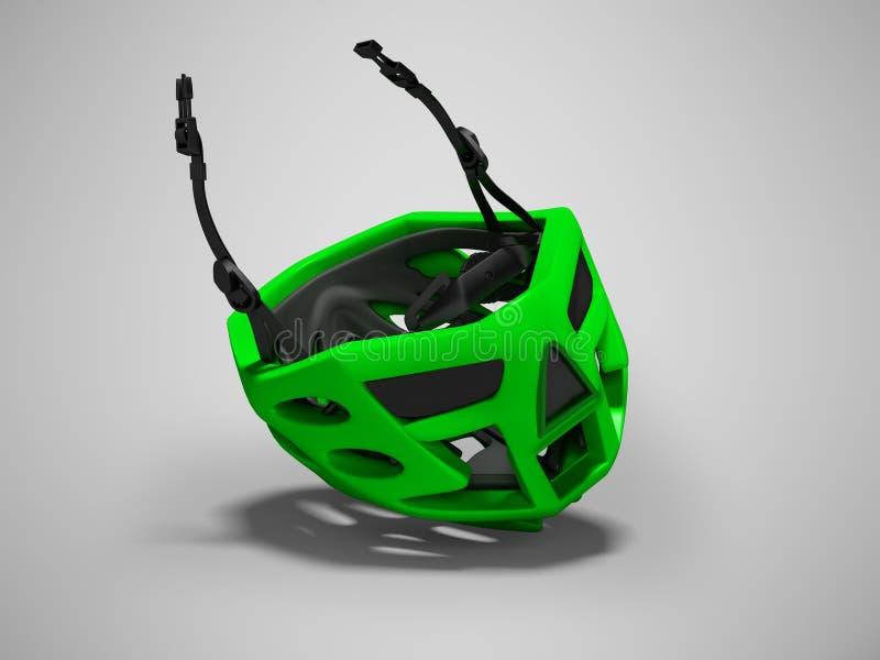 Nowożytny zielony kolarstwo hełm dla ekstremum przejażdżek 3d odpłaca się na szarym tle z cieniem ilustracja wektor