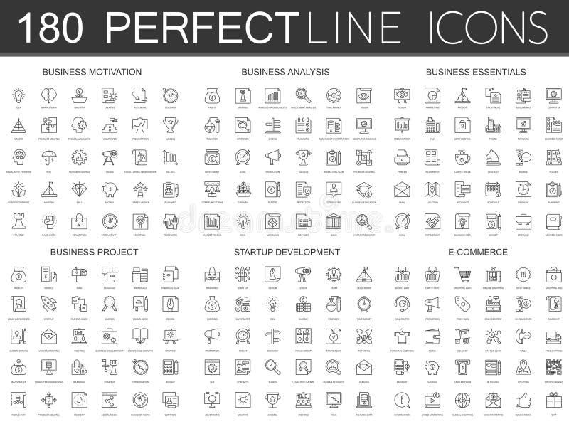 180 nowożytnych cienkich kreskowych ikon ustawiających biznesowa motywacja, analiza, biznesowe podstawy, biznesowy projekt, rozpo ilustracji