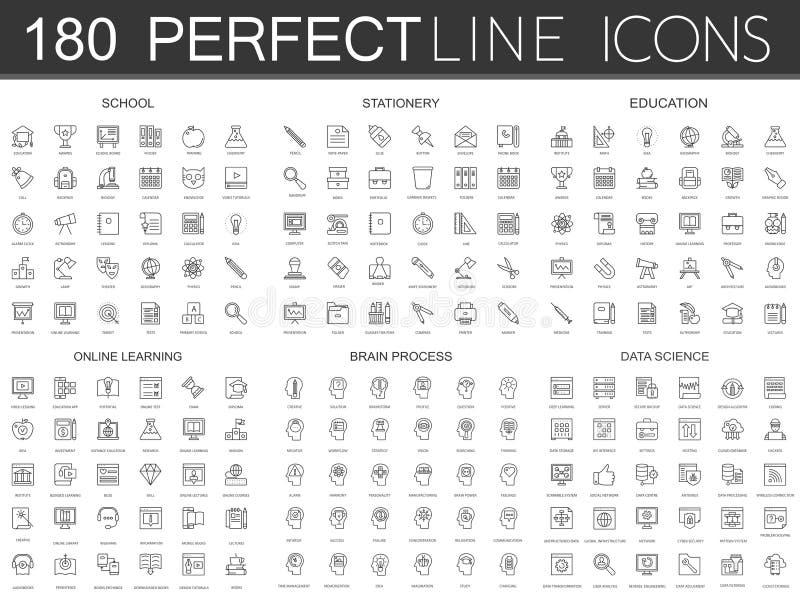 180 nowożytnych cienkich kreskowych ikon ustawiających szkoła, materiały, edukacja, online uczenie, mózg proces, dane nauka royalty ilustracja