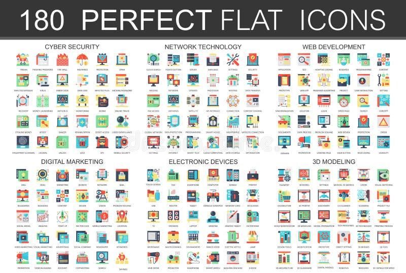 180 nowożytnych płaskich ikon ustawiających cyber ochrona, sieci technologia, sieć rozwój, cyfrowy marketing, urządzenia elektron ilustracja wektor