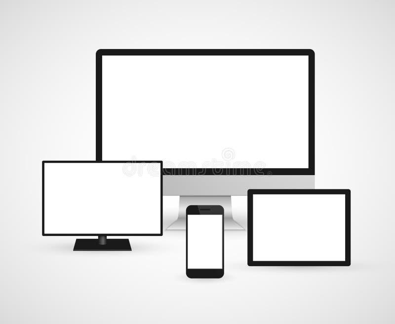 Nowożytnych technologia przyrządów komputerowy monitor, cyfrowa pastylka i telefon komórkowy, royalty ilustracja