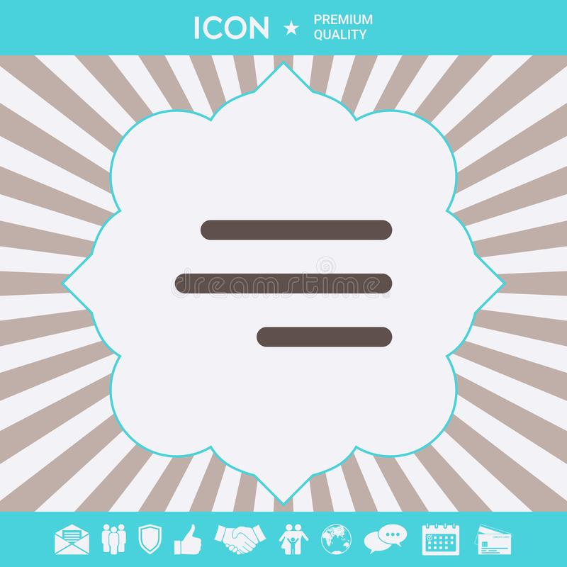 Nowo?ytna hamburgeru menu ikona dla mobilnych apps i stron internetowych Graficzni elementy dla tw?j projekta royalty ilustracja