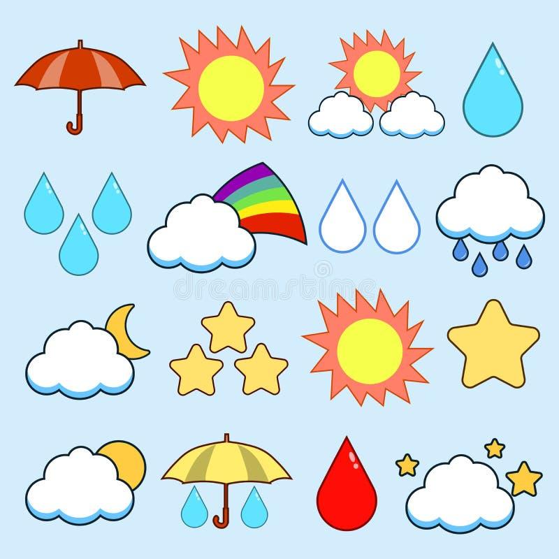 Nowo?ytna p?aska ikona wektoru kolekcja koloru wizerunku pogody temat Odizolowywaj?cy na b??kitnym tle r?wnie? zwr?ci? corel ilus royalty ilustracja