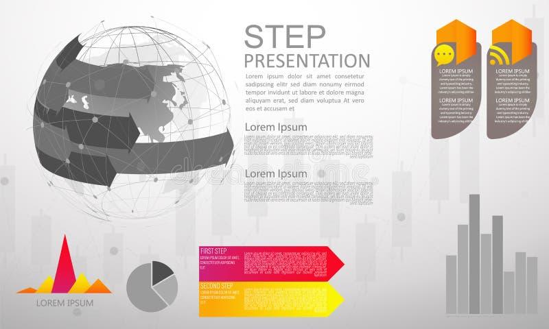 Nowo?ytnej wektorowej abstrakcjonistycznej krok etykietki infographic elementy mo?e u?ywa? dla globalnej sieci zwi?zku ?wiatowej  royalty ilustracja