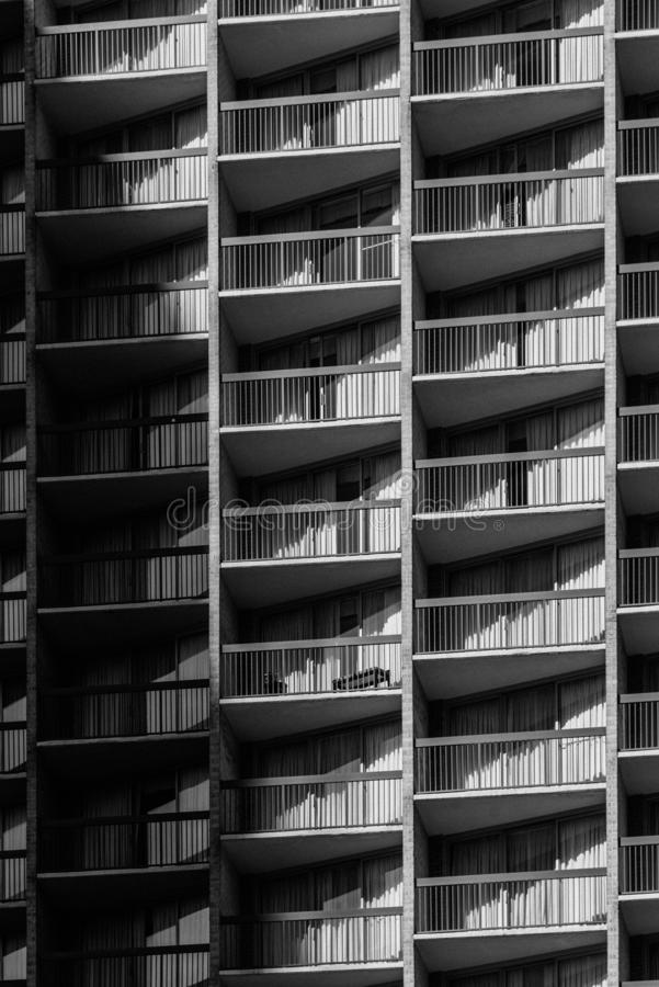 Nowo?ytni architektoniczni szczeg??y balkony w Rosslyn, Arlington, Virginia obraz stock