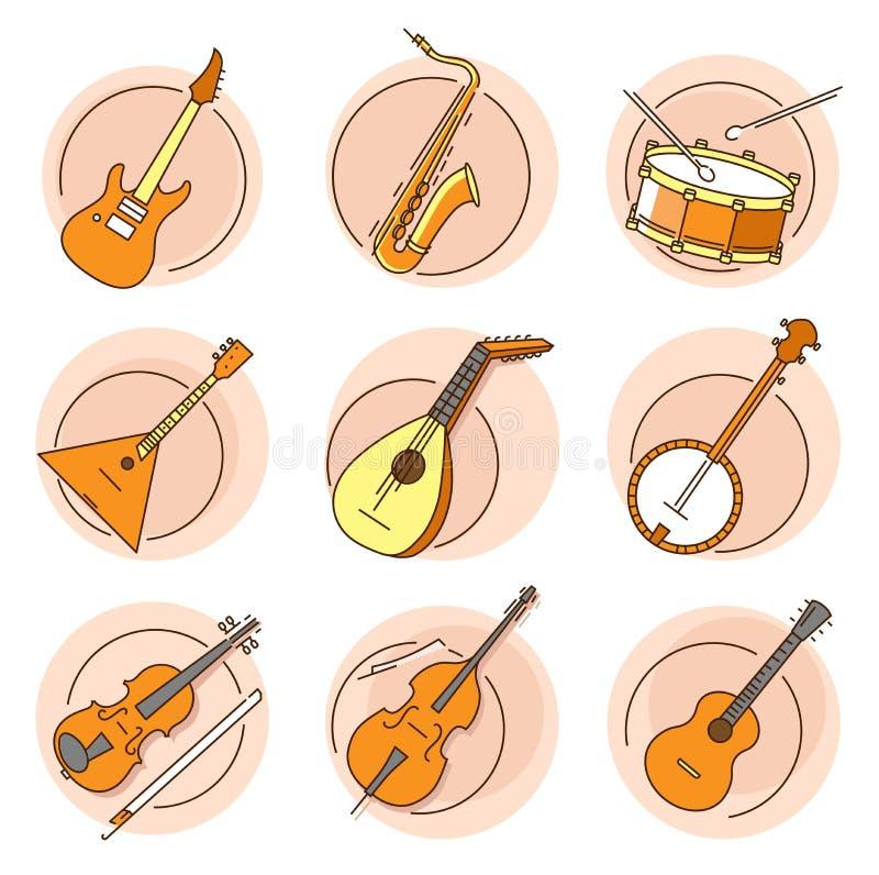 Nowo?ytny liniowy piktogram instrumenty muzyczni ilustracji