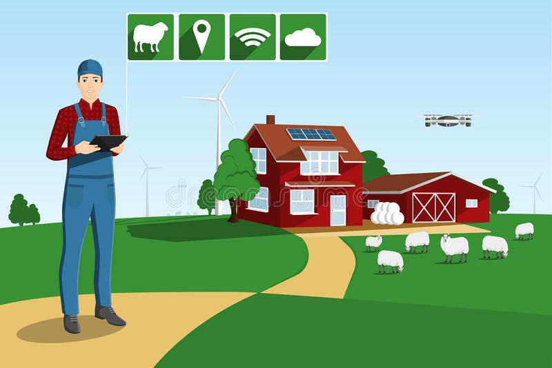 Nowo?ytny rolnik na m?drze gospodarstwie rolnym ilustracja wektor