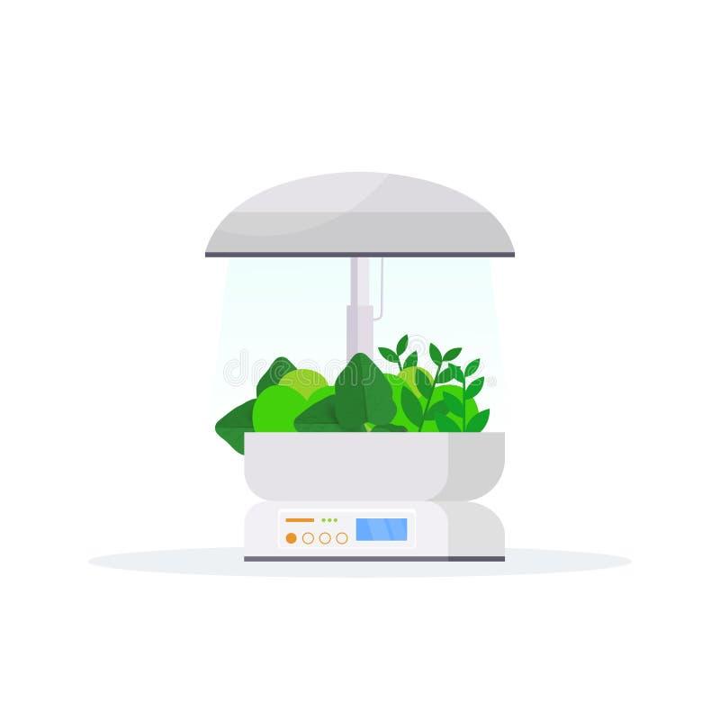 Nowo?ytny salowego ogr?du terrarium gospodarstwa rolnego szklanego zbiornika cyfrowy szklarniany elektroniczny eco uprawia ziemi? ilustracji