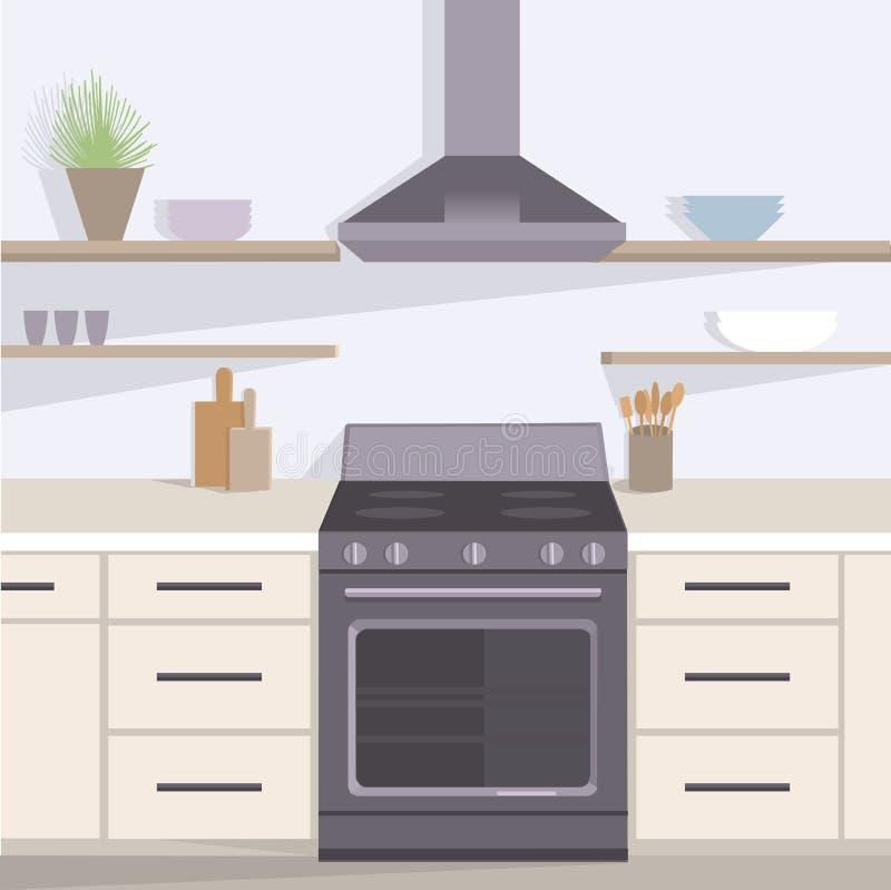 nowoczesna kuchnia wewnętrznego również zwrócić corel ilustracji wektora ilustracja wektor