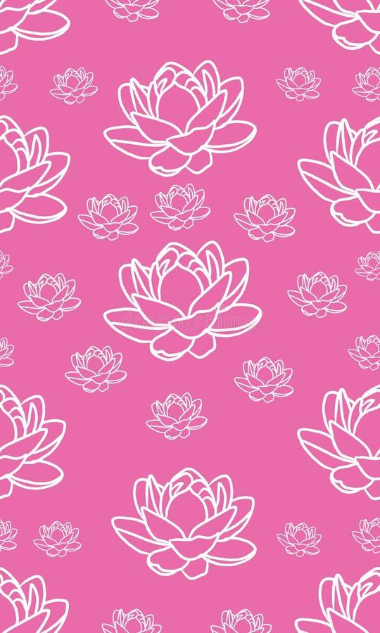 Nowoczesna różowa i biała, bezszwowa, powtarzalna konstrukcja kwiatów lotosu dla tkanin lub tapety ilustracja wektor