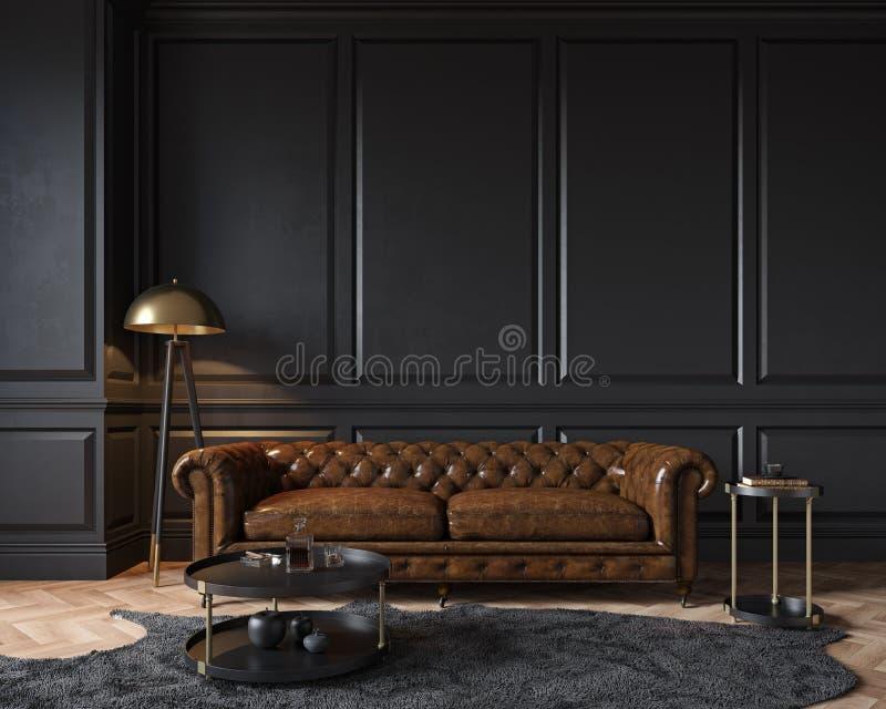 Nowoczesne, klasyczne, czarne wnętrze z kanapą chester skórzany z kapitanem brązowym, lampa podłogowa, royalty ilustracja
